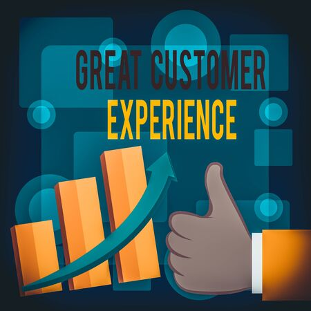 Writing note showing Great Customer Experience. Business concept for responding to clients with friendly helpful way Thumb Up Good Performance Success Escalating Bar Graph Ascending Arrow