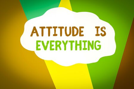 Conceptual hand writing showing Attitude Is Everything. Concept meaning Positive Outlook is the Guide to a Good Life Geometric Background Triangles for Business Presentations Web Stock Photo