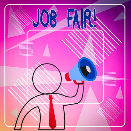 Handwriting text Job Fair. Conceptual photo event in which employers recruiters give information to employees Outline Symbol Man Loudspeaker Making Announcement Giving Instructions