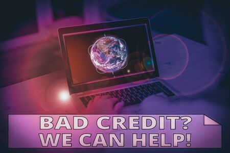 Handwriting text writing Bad Credit Question We Can Help. Conceptual photo offering help after going for loan then rejected Picture photo system network scheme modern technology smart device and Elements of this image furnished by NASA