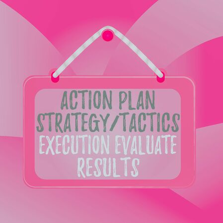 Handwriting text Action Plan Strategy Ortacti. Conceptual photo Action Plan Strategy Or Tactics Execution Evaluate Results Board fixed nail frame string striped colored background rectangle panel Фото со стока