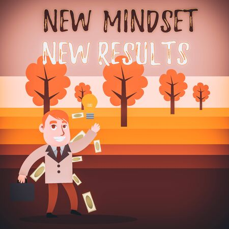 Conceptual hand writing showing New Mindset New Results. Concept meaning Open to Opportunities No Limits Think Bigger Successful Businessman Generating Idea or Finding Solution