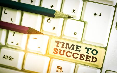 Writing note showing Time To Succeed. Business concept for Thriumph opportunity Success Achievement Achieve your goals White pc keyboard with note paper above the white background