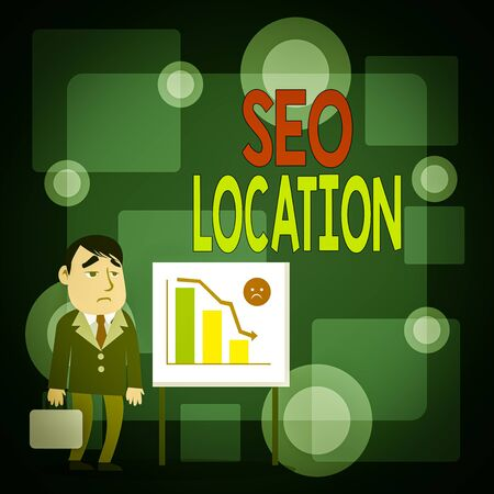 Writing note showing Seo Location. Business concept for process to optimize pages on your site to show for organic Businessman with Brief Case Standing Whiteboard Bar Chart