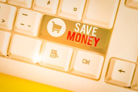 Conceptual hand writing showing Save Money. Concept meaning store some of your cash every month to use them sometime later White pc keyboard with note paper above the white background