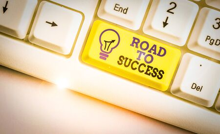 Conceptual hand writing showing Road To Success. Concept meaning studying really hard Improve yourself to reach dreams wishes