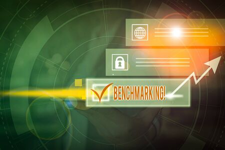 Handwriting text Benchmarking. Conceptual photo evaluate something by comparison with standard or scores Picture photo system network scheme modern technology smart device Фото со стока
