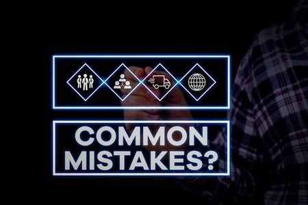 Text sign showing Common Mistakes Question. Business photo showcasing repeat act or judgement misguided making something wrong Picture photo system network scheme modern technology smart device Фото со стока