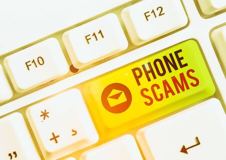 Text sign showing Phone Scams. Business photo text use of telecommunications for illegally acquiring money