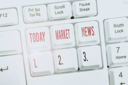Writing note showing Market News. Business concept for Commercial Notice Trade Report Market Update Corporate Insight Keyboard with note paper on white background key copy space