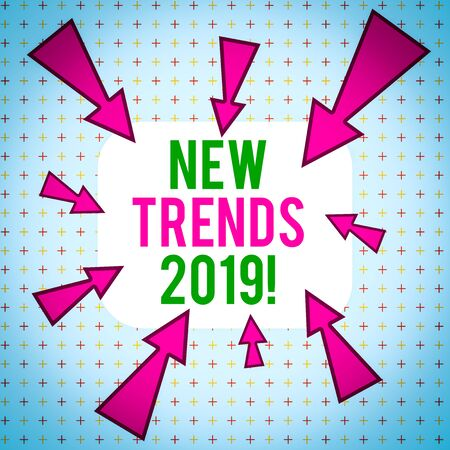 Conceptual hand writing showing New Trends 2019. Concept meaning general direction in which something is developing Asymmetrical uneven shaped pattern object multicolour design Stock fotó
