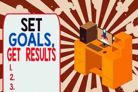 Text sign showing Set Goals Get Results. Business photo text Establish objectives work for accomplish them Working desktop station drawers personal computer launching rocket clouds