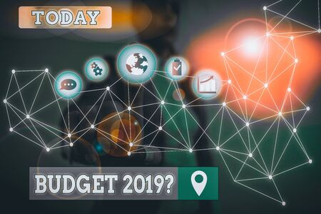 Writing note showing Budget 2019 Question. Business concept for estimate of income and expenditure for next year Picture photo network scheme with modern smart device 写真素材
