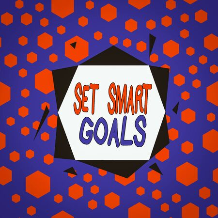 Word writing text Set Smart Goals. Business photo showcasing giving criteria to guide in the setting of objectives Asymmetrical uneven shaped format pattern object outline multicolour design Stock fotó