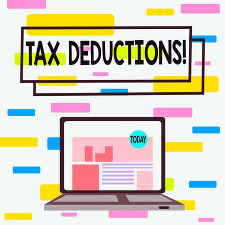 Writing note showing Tax Deductions. Business concept for reduction income that is able to be taxed of expenses Laptop Switched On with Website Homepage Screen Web Search 写真素材