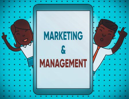 Conceptual hand writing showing Marketing And Management. Concept meaning process of developing strategies for product Male and Female Index Fingers Tablet Smartphone Device