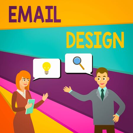 Text sign showing Email Design. Business photo showcasing reusable HTML file that is used to build email campaigns Business Partners Colleagues Jointly Seeking Problem Solution Generate Idea Stock Photo