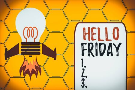 Word writing text Hello Friday. Business photo showcasing Greetings on Fridays because it is the end of the work week Top view launching bulb rocket fire base. Starting new project. Fuel idea