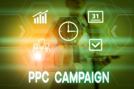 Conceptual hand writing showing Ppc Campaign. Concept meaning use PPC in order to promote their products and services Woman wear work suit presenting presentation smart device