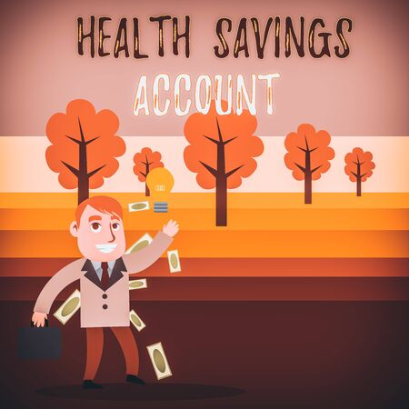 Conceptual hand writing showing Health Savings Account. Concept meaning users with High Deductible Health Insurance Policy Successful Businessman Generating Idea or Finding Solution