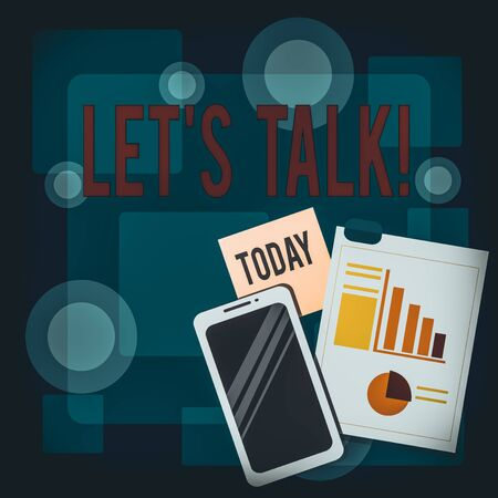 Writing note showing Let S Talk. Business concept for they are suggesting beginning conversation on specific topic Layout Smartphone Sticky Notes with Pie Chart and Bar Graph Stock fotó