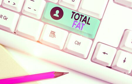 Writing note showing Total Fat. Business concept for combined value of the different types of fat shown at the label