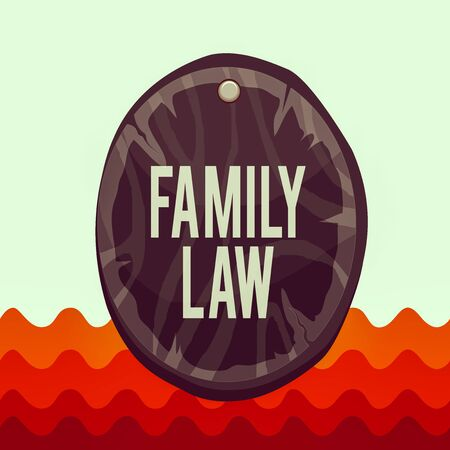Conceptual hand writing showing Family Law. Concept meaning the branch of law that deals with matters relating to the family Oval plank round wooden board circle shaped wood background Reklamní fotografie