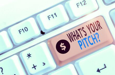 Text sign showing What S Is Your Pitch question. Business photo showcasing asking about property of sound or music tone