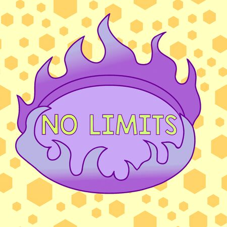 Text sign showing No Limits. Business photo showcasing to do whatever you could with out restrictions and holding back Asymmetrical uneven shaped format pattern object outline multicolour design