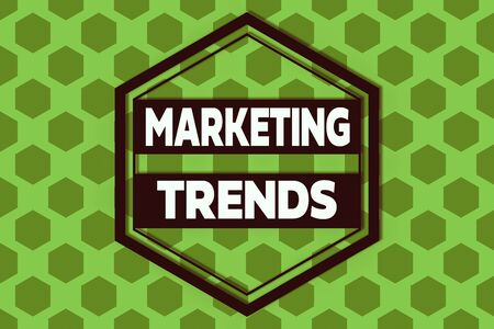 Handwriting text Marketing Trends. Conceptual photo changes and developments in trading in the market Hexagonal figures design. Modern geometric background honeycombed pattern