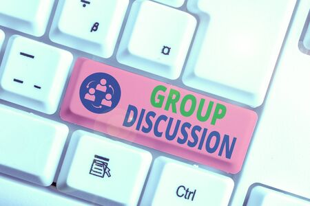 Text sign showing Group Discussion. Business photo text gather either formally or informally to bring up ideas 스톡 콘텐츠