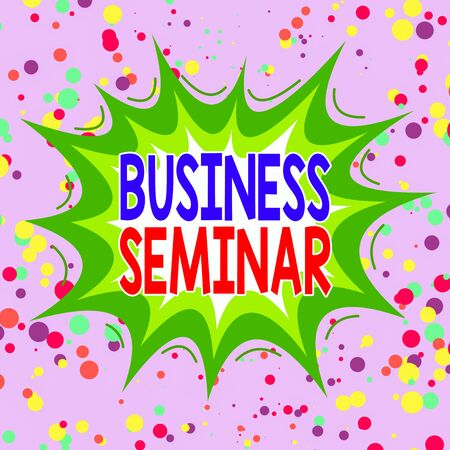 Writing note showing Business Seminar. Business concept for discussion in a small group in which the result of research Asymmetrical uneven shaped pattern object multicolour design