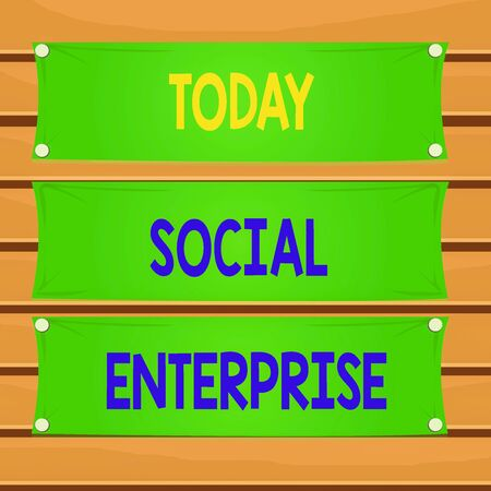 Conceptual hand writing showing Social Enterprise. Concept meaning commercial organization that has specific social objective Wooden panel attached nail on colorful background plank wood