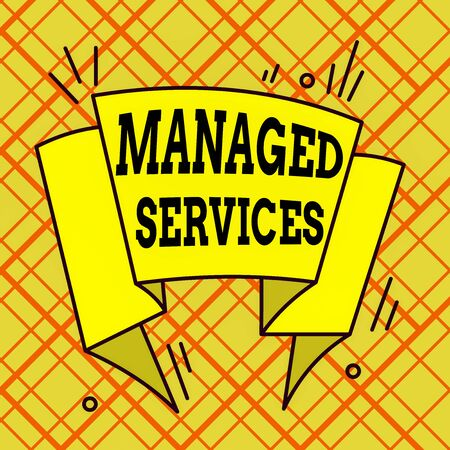 Writing note showing Managed Services. Business concept for company that remotely analysisages customer s is IT infrastructure Asymmetrical uneven shaped pattern object multicolour design