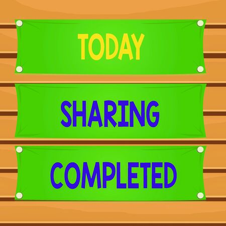 Conceptual hand writing showing Sharing Completed. Concept meaning to bring to an end and especially into a perfected state Wooden panel attached nail on colorful background plank wood Banque d'images