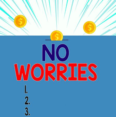Text sign showing No Worries. Business photo showcasing an expression used to say that everything is all right Front view close up three penny coins icon one entering collecting box slot