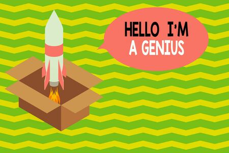Word writing text Hello I M A Genius. Business photo showcasing Introduce yourself as over average demonstrating to others Fire launching rocket carton box. Starting up project. Fuel inspiration
