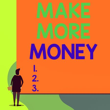 Writing note showing Make More Money. Business concept for Increase your incomes salary benefits Work harder Ambition Back view young woman watching blank big rectangle