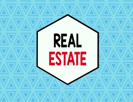 Text sign showing Real Estate. Business photo text the property consisting of land and the buildings on it Seamless Pattern of Alternating Straight and Upside Blue Triangles in Line