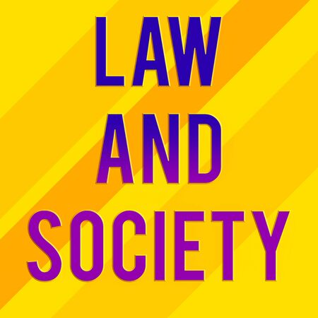 Text sign showing Law And Society. Business photo text Address the mutual relationship between law and society Square rectangle paper sheet loaded with full creation of pattern theme Reklamní fotografie