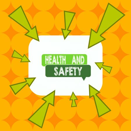 Word writing text Health And Safety question. Business photo showcasing regulations and procedures to prevent accident Asymmetrical uneven shaped format pattern object outline multicolour design