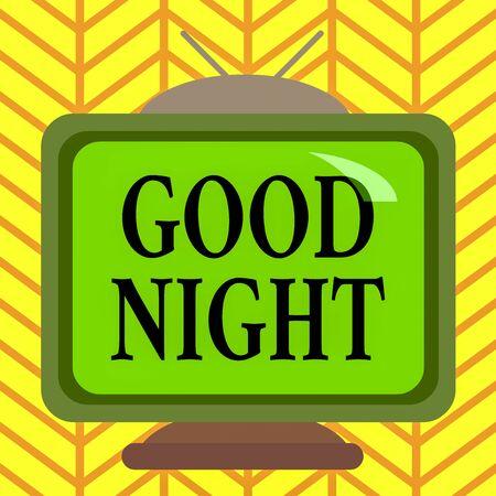 Słowo pisania tekstu dobranoc. Fotografia biznesowa przedstawiająca wyrażanie dobrych życzeń po rozstaniu w nocy lub przed pójściem spać Kwadratowy prostokąt stary wielokolorowy obraz obraz telewizyjny wzór drewna