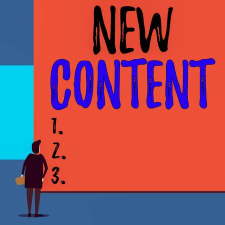 Text sign showing New Content. Business photo showcasing fresh valuable and relevant information or context of a document Back view young woman watching blank big rectangle. Geometrical background Stock Photo