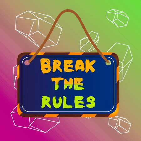 Word writing text Break The Rules. Business photo showcasing Make changes do everything different Rebellion Reform Board attached string color black yellow frame empty blank rectangle shape Reklamní fotografie