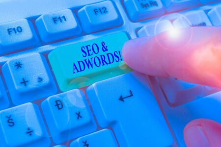 Text sign showing Seo And Adwords. Business photo showcasing they are main tools components of Search Engine Marketing