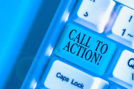 Handwriting text Call To Action. Conceptual photo exhortation do something in order achieve aim with problem Stok Fotoğraf