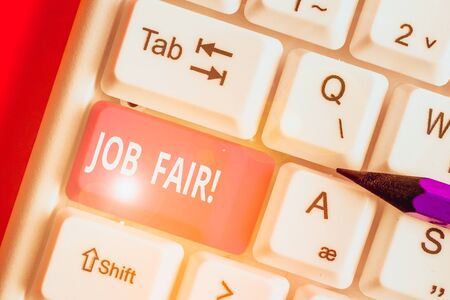 Text sign showing Job Fair. Business photo text event in which employers recruiters give information to employees