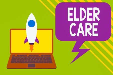 Handwriting text writing Elder Care. Conceptual photo the care of older showing who need help with medical problems Launching rocket up laptop . Startup project. Developing goal objectives Stok Fotoğraf