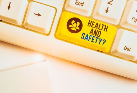 Handwriting text Health And Safety Question. Conceptual photo regulations and procedures to prevent accident or injury