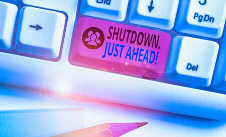 Text sign showing Shutdown Just Ahead. Business photo text closing factory business either short time or forever Reklamní fotografie